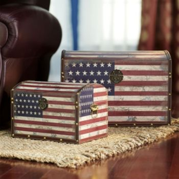 Household Essentials American Flag 2-pc. Storage Trunk Set
