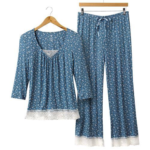 Apt. 9 Kayla Floral Lace-Trim Pajama Separates
