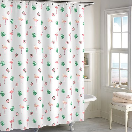 Destinations Palm Leaf Flamingo Shower Curtain Collection