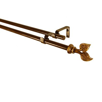 BCL Drapery Hardware Leaf Double Curtain Rod