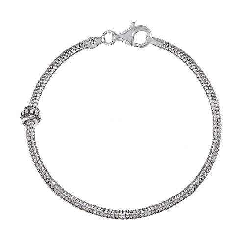 Individuality Beads Sterling Silver Snake Chain Bracelet Stopper Bead Set