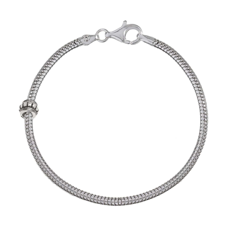 beads sterling silver snake chain bracelet u0026 stopper bead set