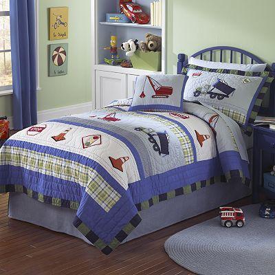 Quilt Bedding Boys on Pem America Trucks At Work Quilt Coordinates
