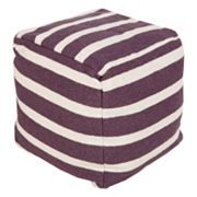 Artisan Weaver Striped Pouf