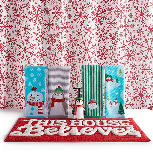 St Nicholas SquareR Holiday Cheer Snowflake Shower Curtain Collection