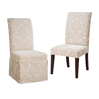 Chenille Fleur-de-Lis Dining Chair Slipcovers