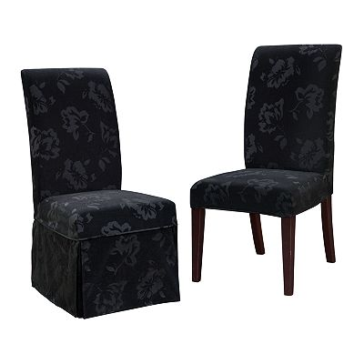 Chenille Velvet Floral Dining Chair Slipcovers