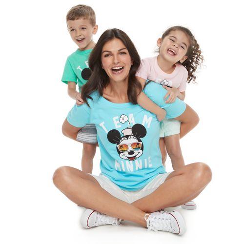 "Disney's ""Team Mickey"" & ""Team Minnie"" Graphic Tops by Family Fun"