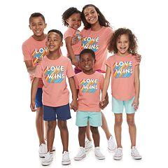 Family Fun 'Love Wins' Rainbow Pride Graphic Tops