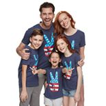 Family Fun American Flag Peace Sign Graphic Tops