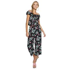 Candie's® Black Floral Button Front Top Matching Set