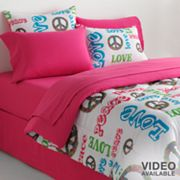 Veratex Peace and Love Reversible Comforter Set