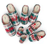 Dearfoams Elf Family Plaid Slipper Collection