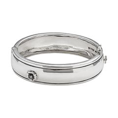 Sterling Silver Diamond Accent Flower Bangle Bracelet