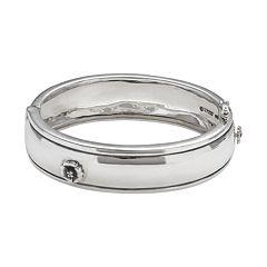 Sterling Silver Diamond Accent Flower Bangle Bracelet