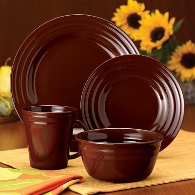 Rachael Ray Double Ridge Brown Dinnerware Collection