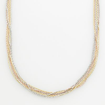 Sterling Silver Tri-Tone Multistrand Chain Necklace