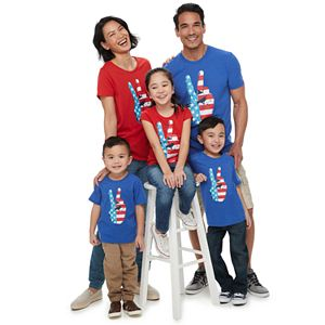 Family Fun Americana Peace Sign Graphic Tees