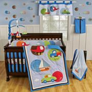 Sumersault Tiny Trips Transportation Bedding Coordinates