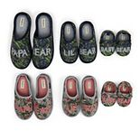 Dearfoams Tropical Print Family Bear Slide Slippers