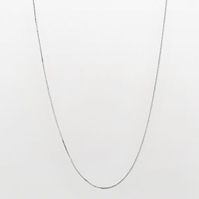10k White Gold Venetian Box Chain Necklace