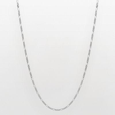 14k White Gold Figaro Chain Necklace