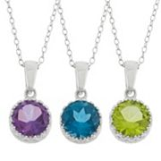 Gemstone Sterling Silver Crown Pendant Necklace