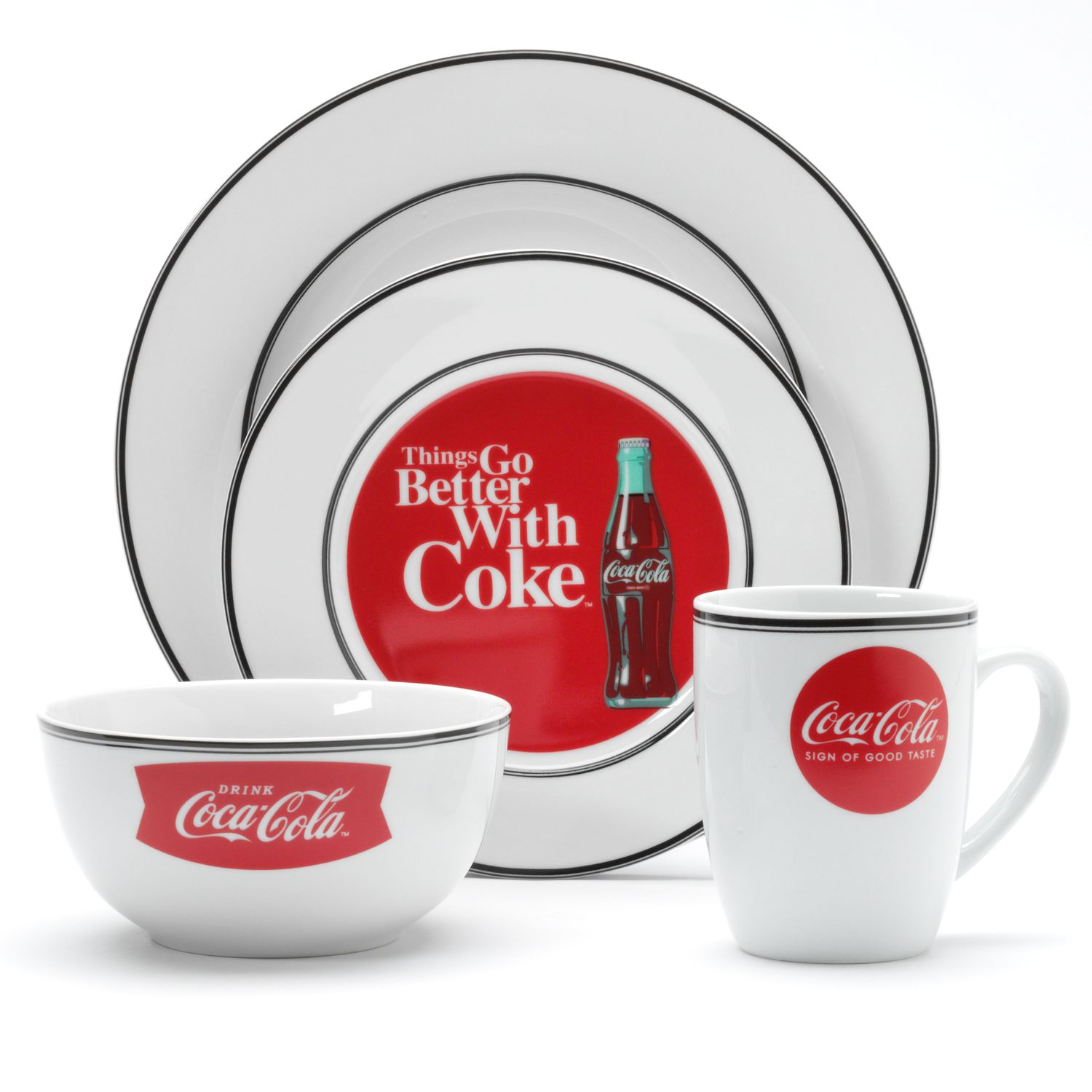 Your next meal is sure to be hopping with this fun Coca-Cola dinnerware. Click To More information.  sc 1 th 225 & MmryFmckllwTrvlllwwthrtblB Blckvltllw