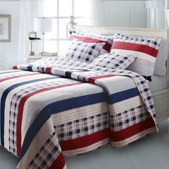 nautical stripes pieced reversible quilt set - Nautical Bedding