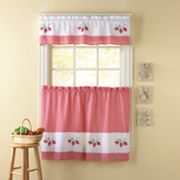 CHF Strawberry Gingham Tailored Tier Kitchen Curtains