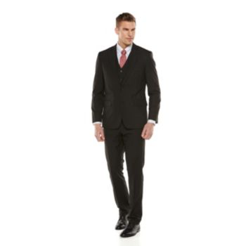 Big & Tall Savile Row Striped Black Suit Separates