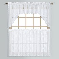 United Curtain Co. Rochelle Lace Swag Tier Kitchen Window Curtains