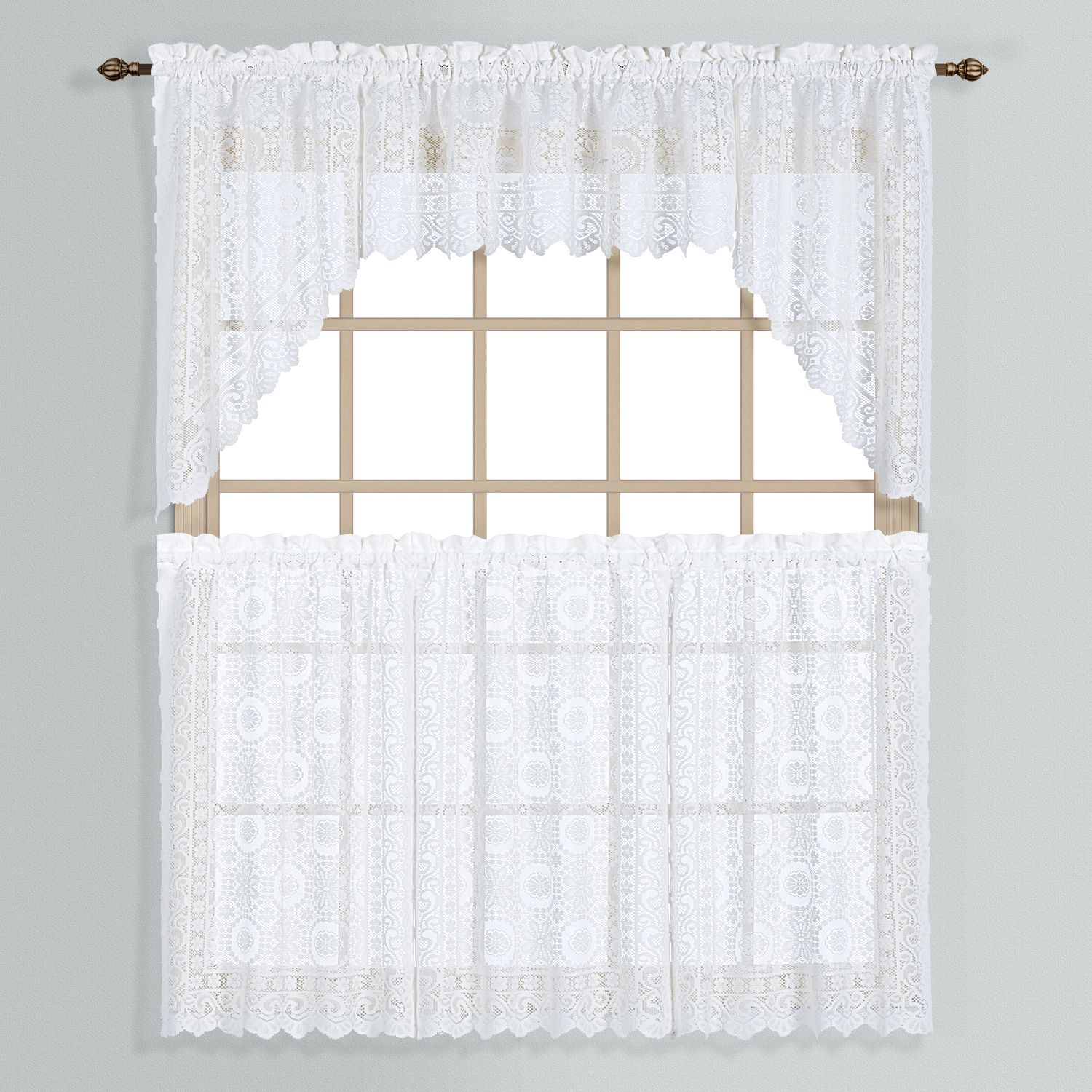 Rochelle Lace Swag Tier Kitchen Window Curtains
