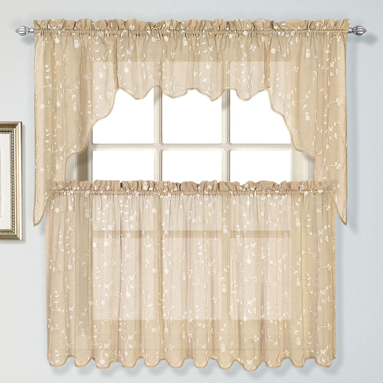 United Curtain Co. Savannah Swag Tier Kitchen Window Curtains