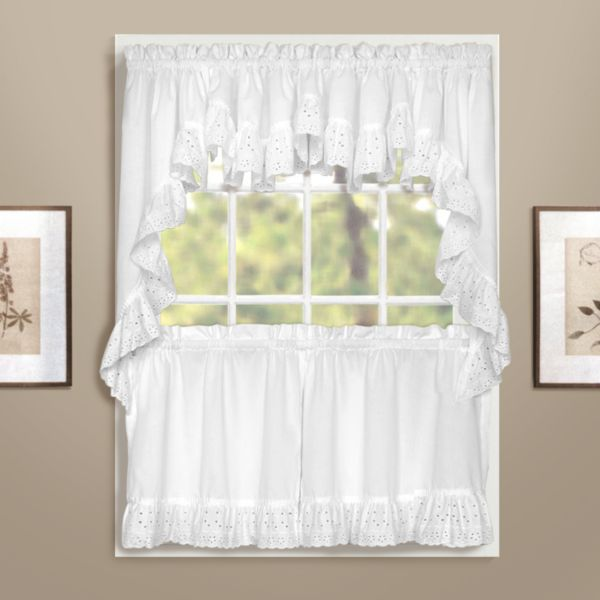 white bathroom curtains for windows united curtain co vienna eyelet swag tier kitchen curtains 24618