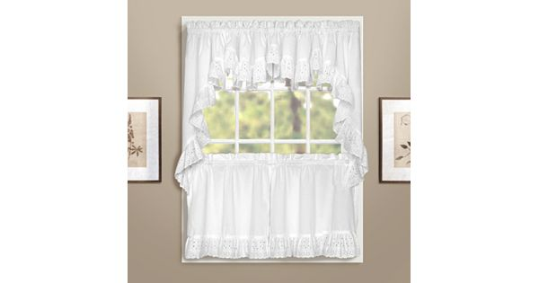 Curtain Designs For Kitchen Windows: United Curtain Co. Vienna Eyelet Swag Tier Kitchen Curtains
