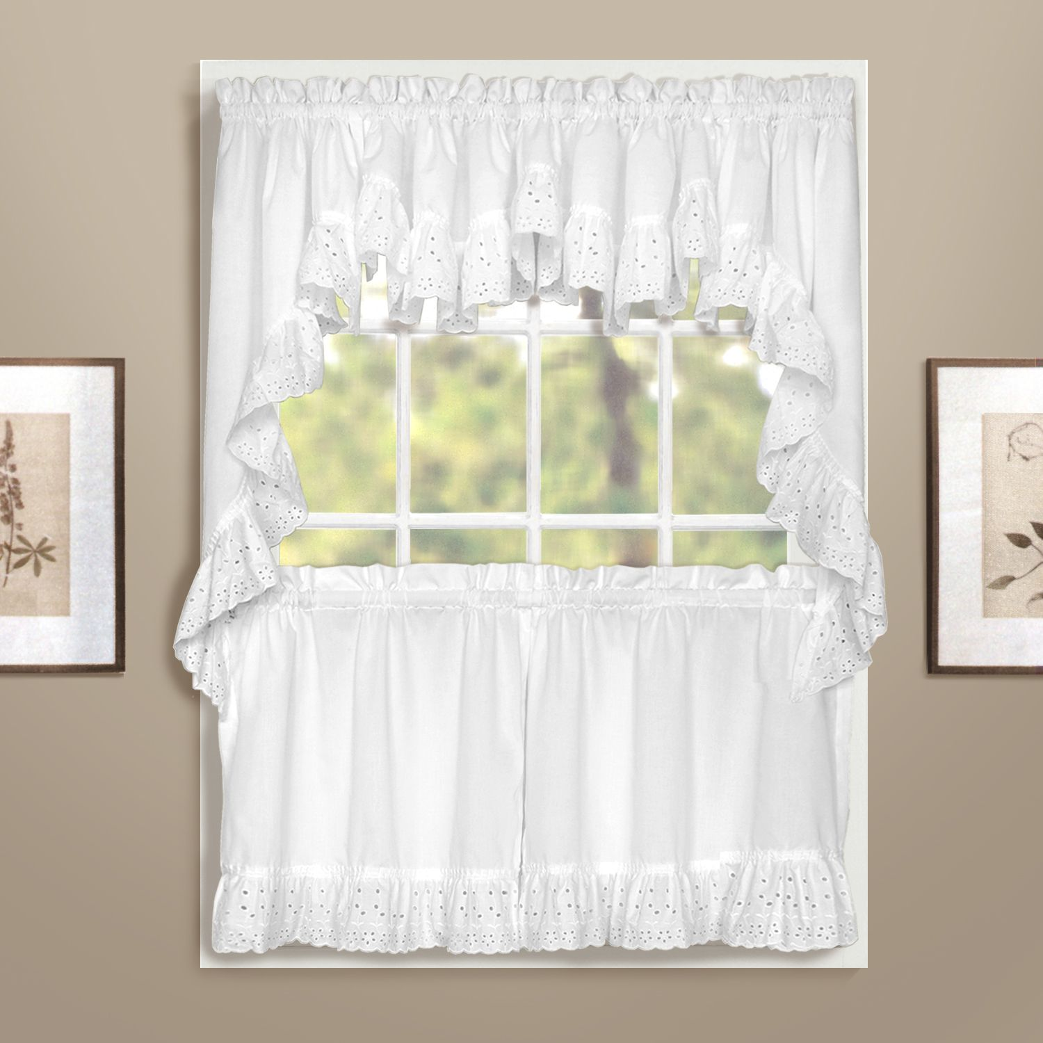 United Curtain Co. Vienna Eyelet Swag Tier Kitchen Window Curtains
