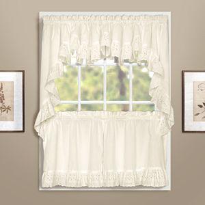 United Curtain Co. Vienna Eyelet Swag Tier Kitchen Window Curtains