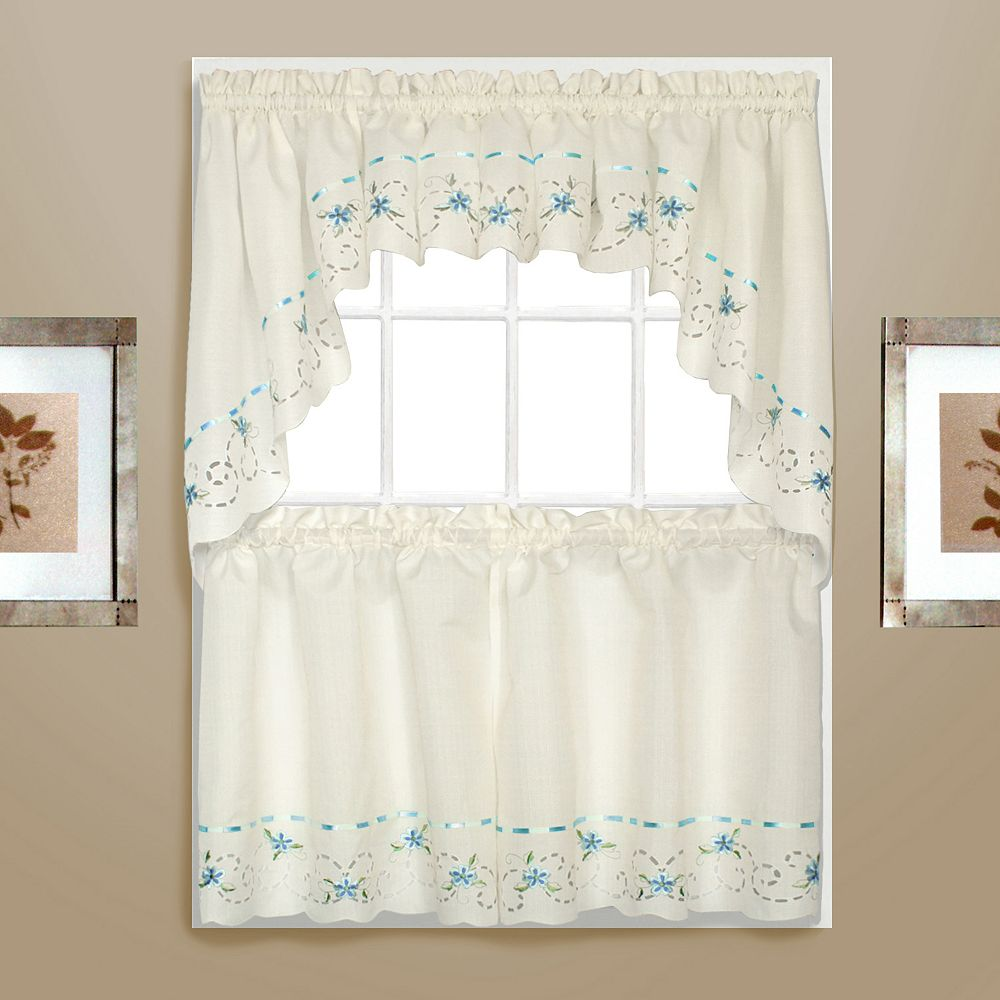 Swag kitchen curtains - Rachael Embroidered Swag Tier Kitchen Curtains