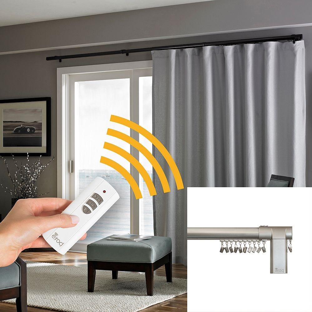 Erod Side Open Remote Controlled Motorized Window Curtain Rod Collection