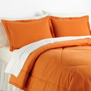 Solid Micro Flannel Comforter Set