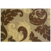 Linon Home Decor Corfu Collection Leaves Rug