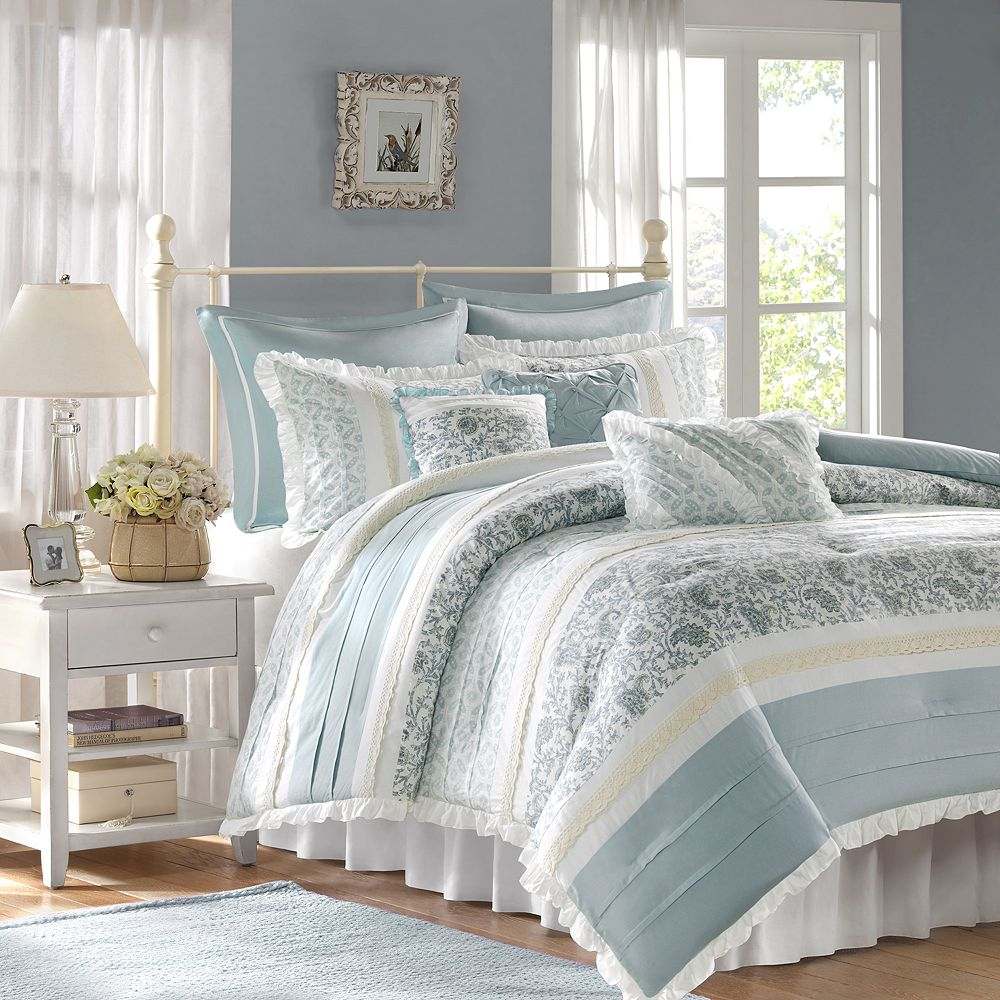 new madison park vanessa 9 pc comforter queen set in blue