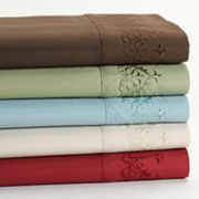 Fleur-de-Scroll Embroidery Microfiber Sheet Set