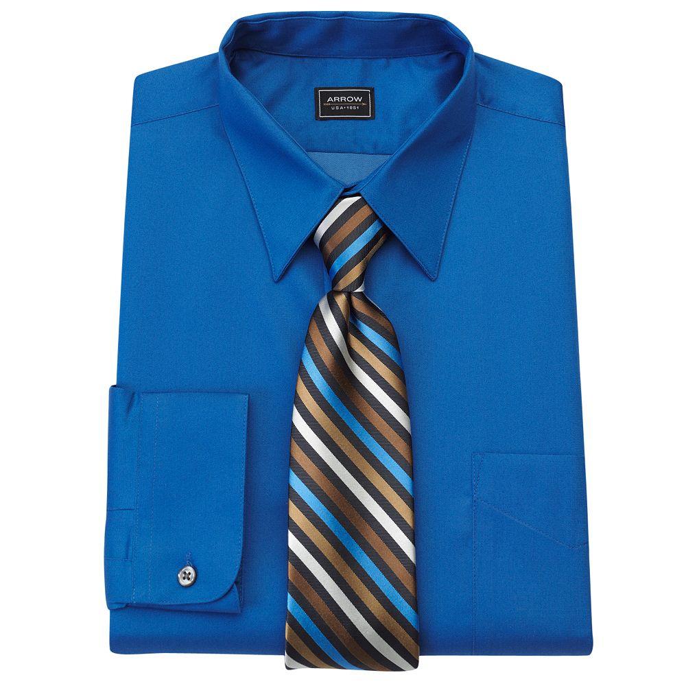 Arrow Fitted Sateen Dress Shirt Striped Tie Separates Men