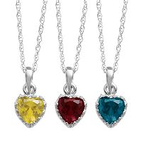 Sterling Silver Gemstone Heart Crown Pendant