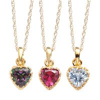 14k Gold Over Silver Gemstone Heart Crown Pendants