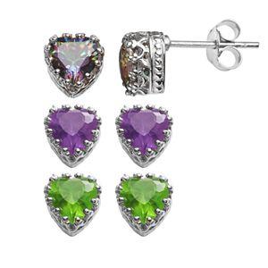 Sterling Silver Gemstone Heart Crown Stud Earrings