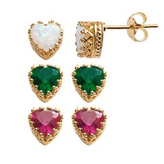 14k Gold Over Silver Gemstone Heart Crown Stud Earrings