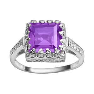 Sterling Silver Gemstone and Lab-Created White Sapphire Crown Ring